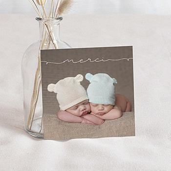 Carte remerciement naissance Bébés jumeaux
