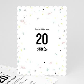 Top Carte invitation anniversaire 20 ans à personnaliser JR15
