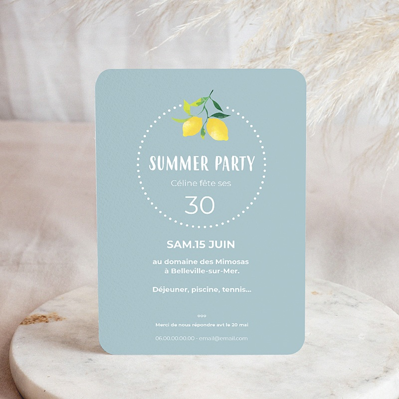 Carte invitation anniversaire adulte Citrons en fête