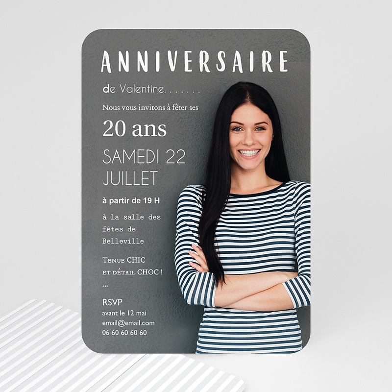 Carte invitation anniversaire adulte Autoportrait
