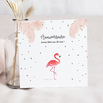 Invitation Anniversaire Adulte - Flamant-Rose Fiesta - 0