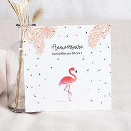 Invitations Anniversaire adulte Flamant-Rose Fiesta