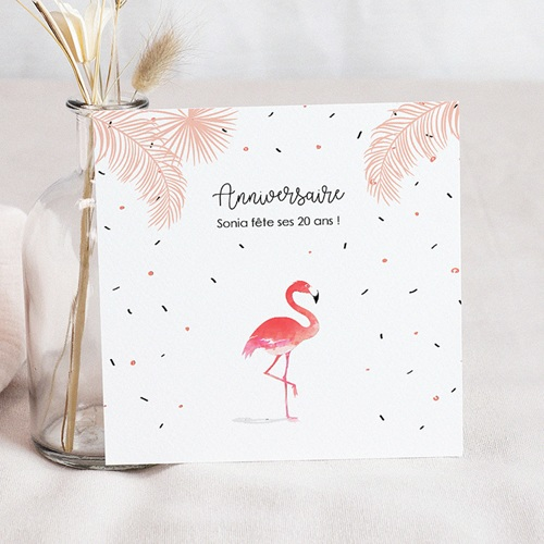 Invitation Anniversaire Adulte - Flamant-Rose Fiesta 54332 thumb