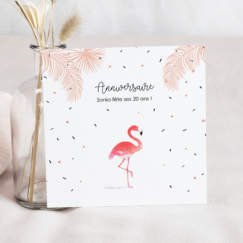 Carte invitation anniversaire adulte flamant rose fiesta - Carte d anniversaire adulte a imprimer ...