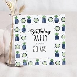 Invitation Anniversaire Adulte - Ananas bleus en fête 54341