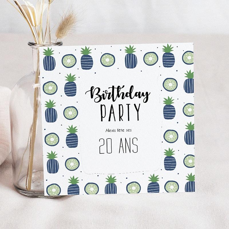 Carte invitation anniversaire adulte Ananas bleus en fête