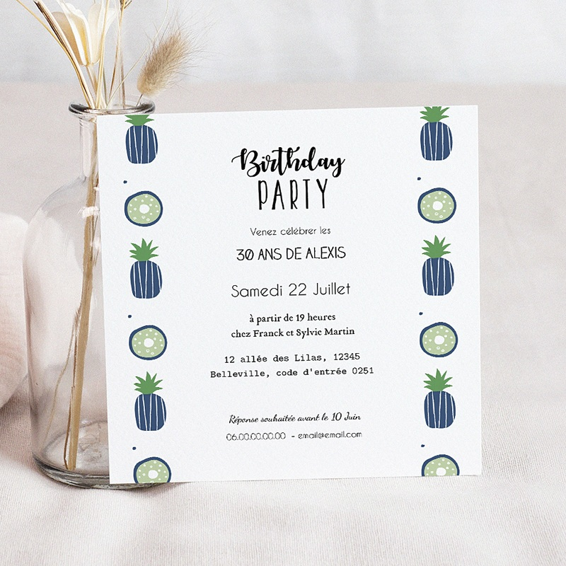 Carte invitation anniversaire adulte Ananas bleus en fête pas cher