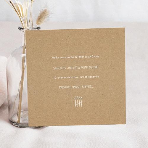 Carte Invitation Anniversaire Adulte Décompte à la craie pas cher