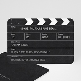 Carte Invitation Anniversaire Adulte - Cinema 54376