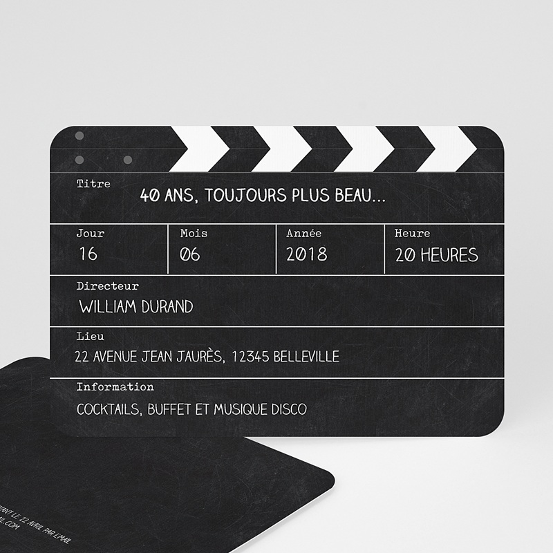 Carte invitation anniversaire adulte Cinema