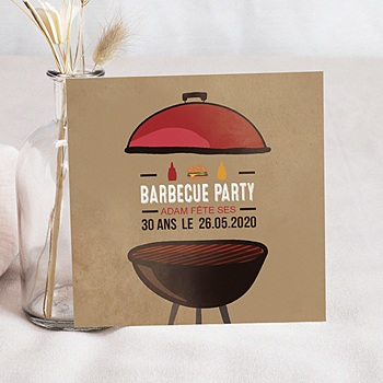Achat carte invitation anniversaire adulte grillades party