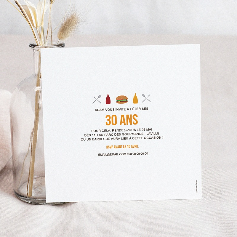 Carte invitation anniversaire adulte Grillades Party pas cher
