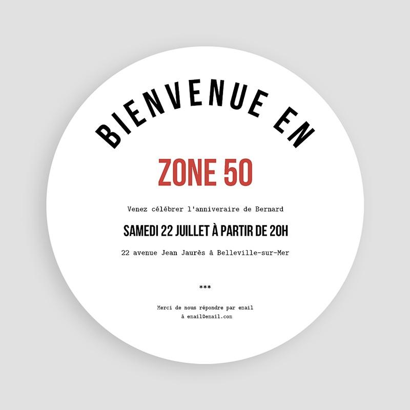 Carte Invitation Anniversaire Adulte Zone 50 pas cher