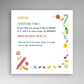 Invitation Anniversaire Garçon - Bonbons à foison - 3