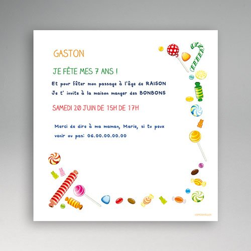 invitations anniversaire gar on bonbons foison. Black Bedroom Furniture Sets. Home Design Ideas