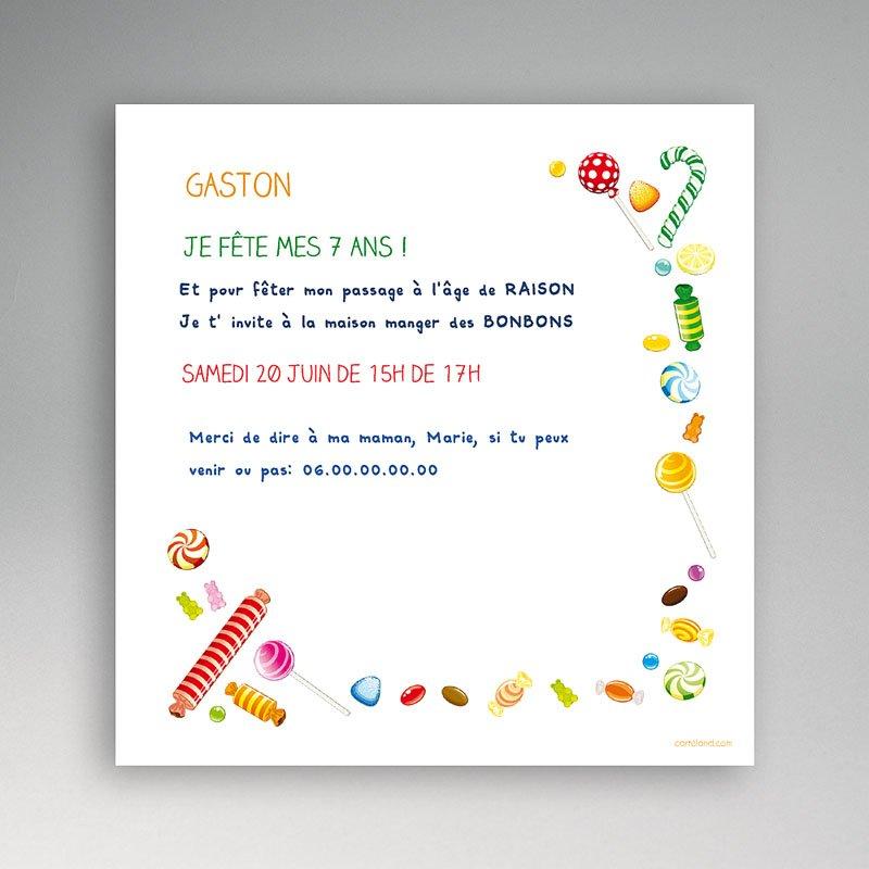 Carte invitation anniversaire garçon Bonbon