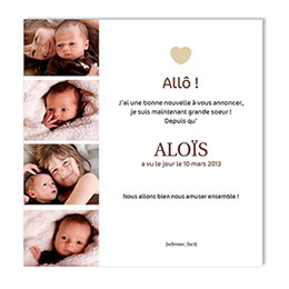 Faire-part naissance fille Mes 4 photos