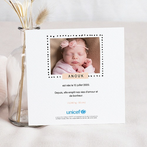 Faire-Part Naissance Fille UNICEF Batik pas cher
