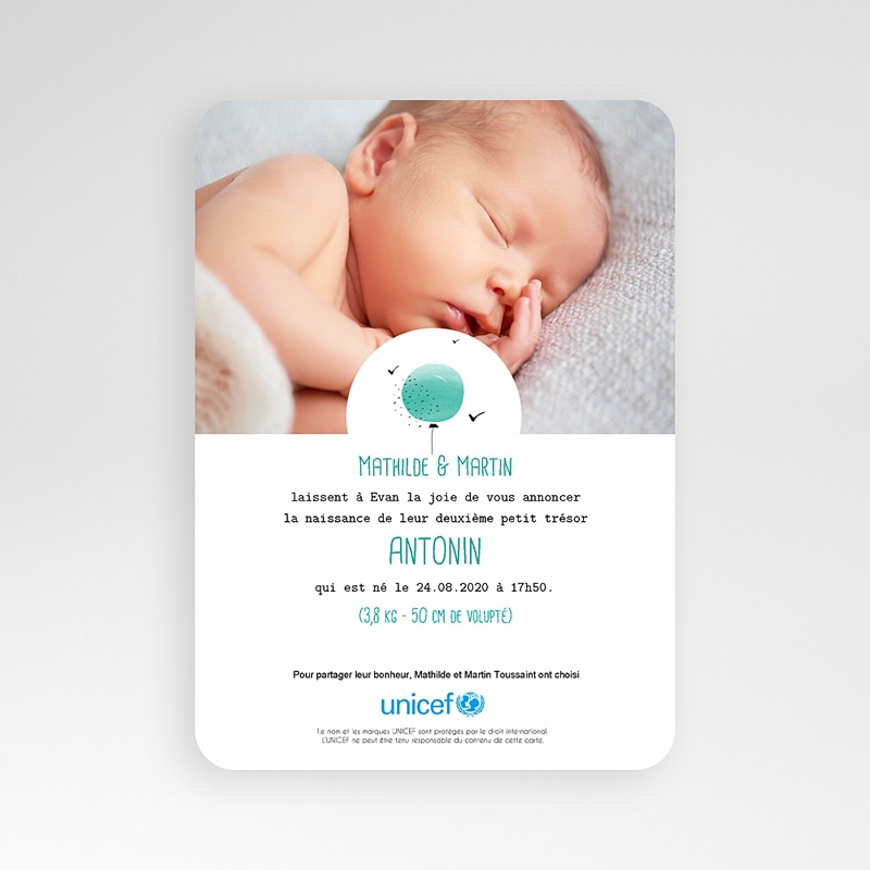 Faire-Part Naissance Garçon UNICEF Ballon Aquarelle Bleu pas cher