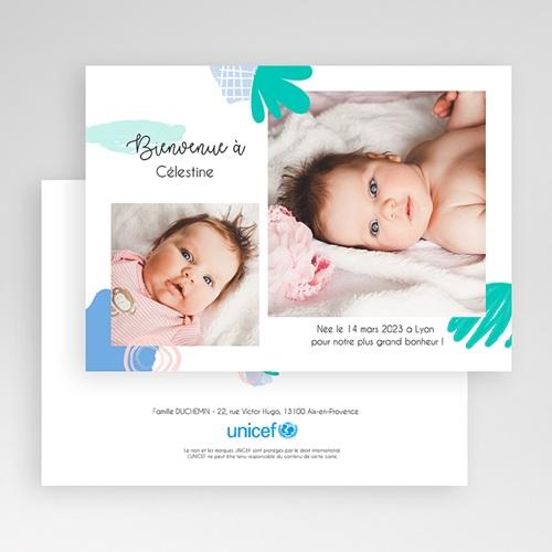 Faire-Part Naissance Fille UNICEF - Deux portraits 54649 thumb