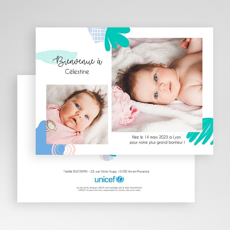 Faire-Part Naissance Fille UNICEF Deux portraits gratuit