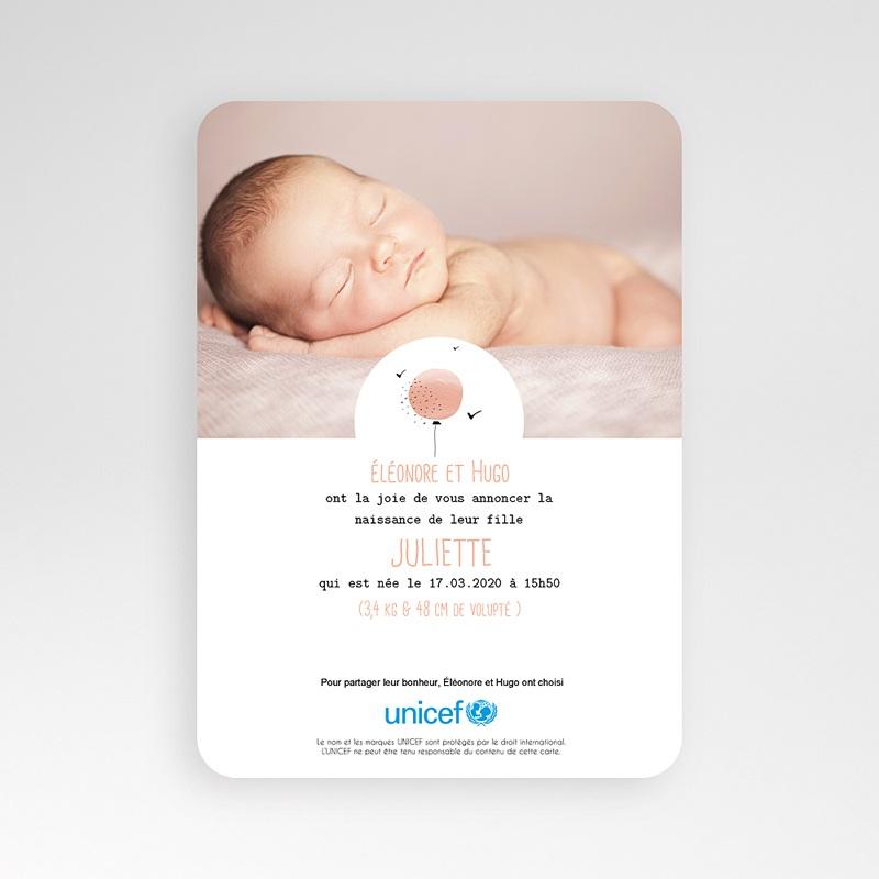 Faire-Part Naissance Fille UNICEF Ballon Aquarelle Rose pas cher