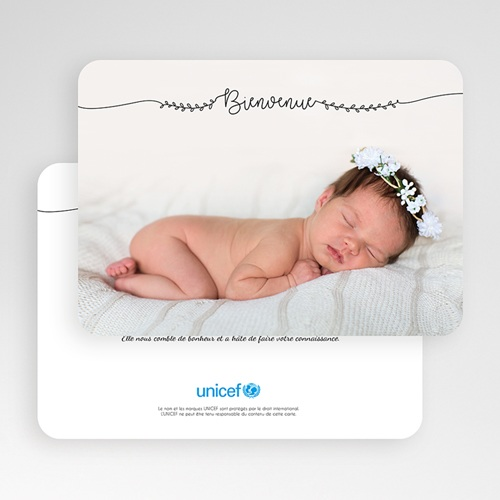 Faire-Part Naissance Fille UNICEF Jolie poupée gratuit