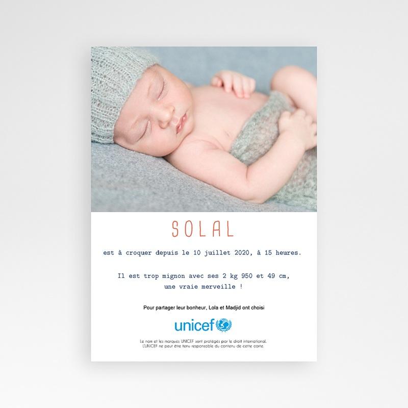 Faire-Part Naissance Garçon UNICEF Pomme d'Amour pas cher