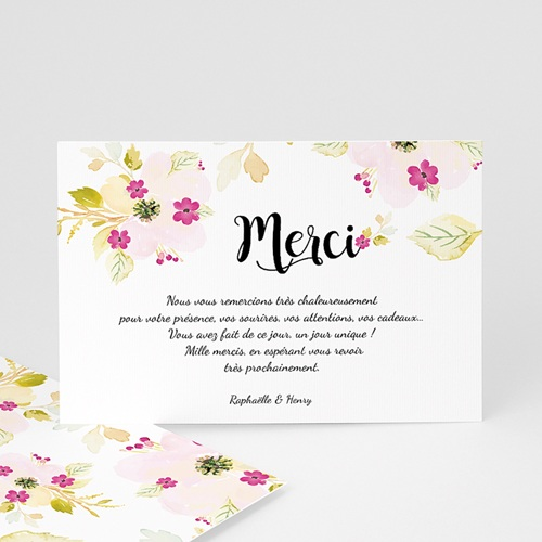 carte remerciements mariage romance watercolor. Black Bedroom Furniture Sets. Home Design Ideas