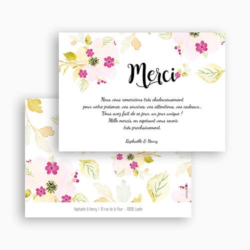 Carte remerciement mariage Romance Watercolor gratuit