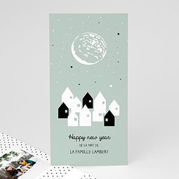 Carte de voeux Happy New Year Village Lune Etoile à personnaliser