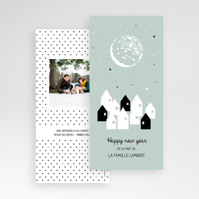 Carte de Voeux Happy New Year Village Lune Etoile pas cher
