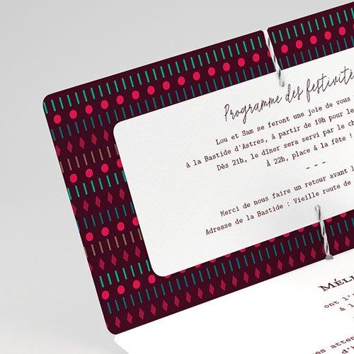 Faire-part mariage Boho & Plume colorée gratuit