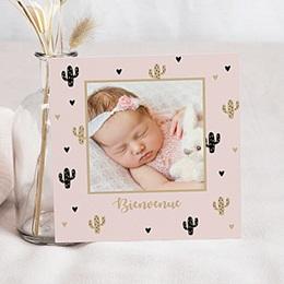 Faire-part naissance fille Cactus et dorure