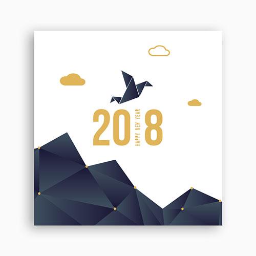 Cartes de Voeux Professionnels - Origami colombe bleue 55014