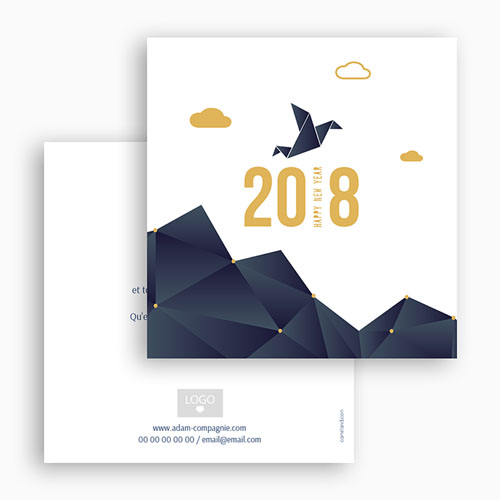 Cartes de Voeux Professionnels - Origami colombe bleue 55016 preview