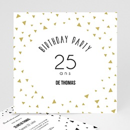 Carte invitation anniversaire adulte Triangles Chic