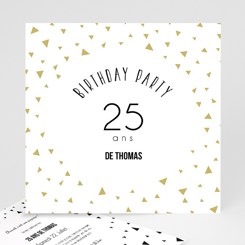 carte invitation anniversaire adulte triangles chic. Black Bedroom Furniture Sets. Home Design Ideas
