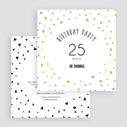 Carte Invitation Anniversaire Adulte Triangles Chic gratuit