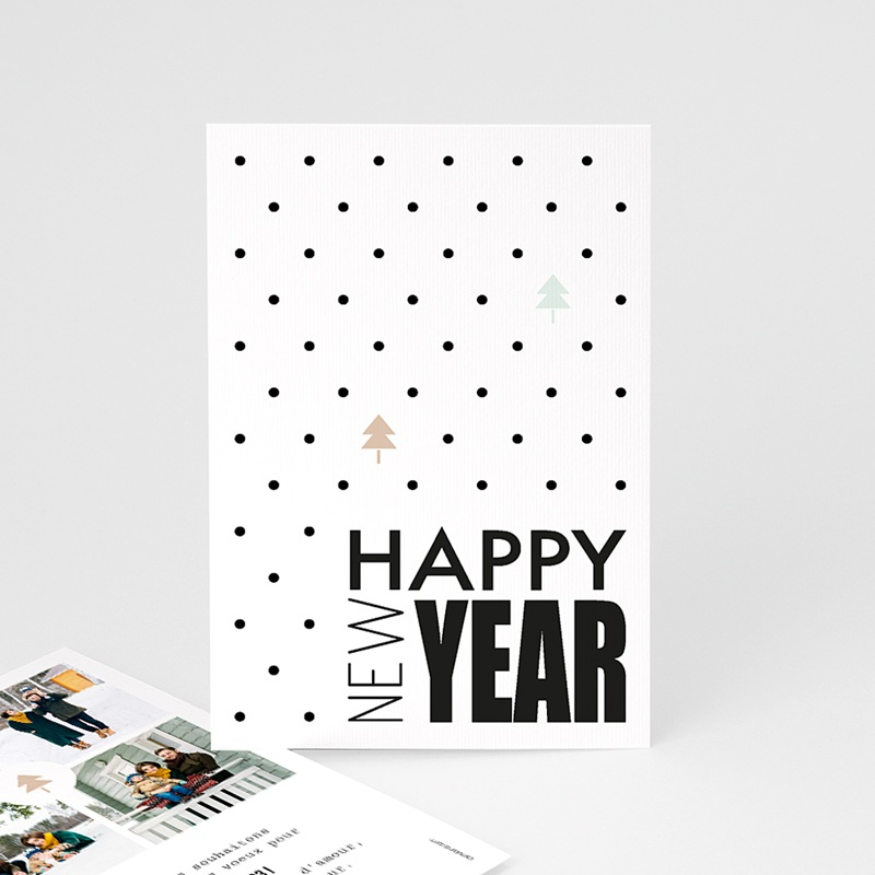 Carte de Voeux Happy New Year Sapin & Typographique