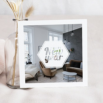 Carte de Voeux Professionnelle - Hexagone White - 0