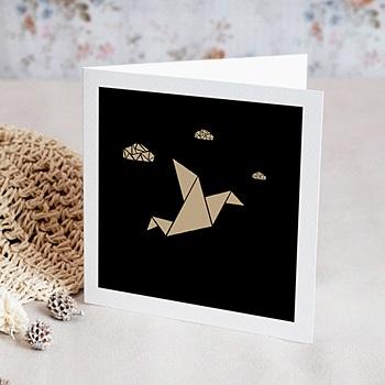 Carte de voeux entreprise Origami colombe dorée personnalisable