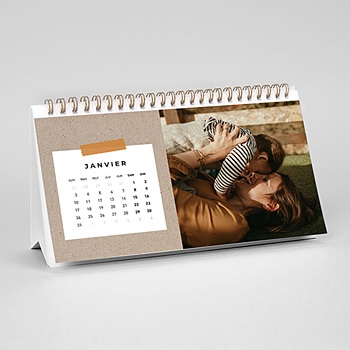 Calendrier de Bureau 2020 - Kraft & Photos - 0
