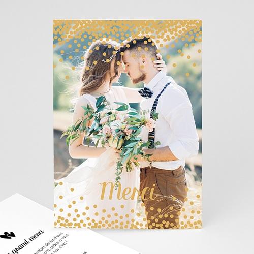 Carte remerciement mariage Pluie de paillettes
