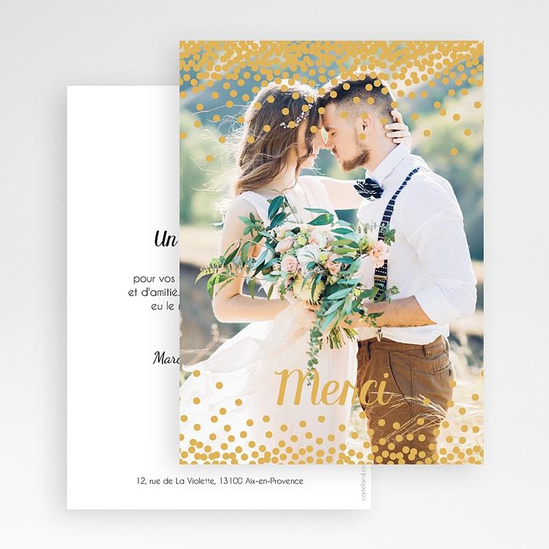 Carte remerciement mariage Pluie de paillettes gratuit