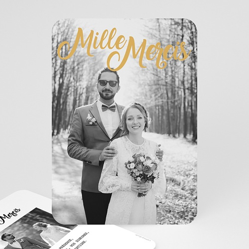 Carte remerciement mariage chic Mille mercis Or