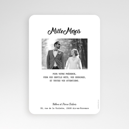 Carte remerciement mariage chic Mille mercis Or pas cher