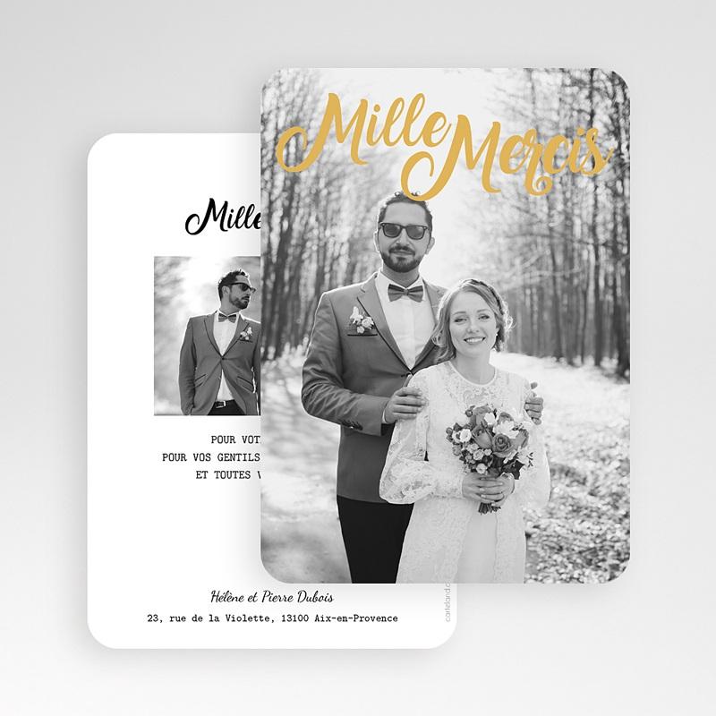 Carte remerciement mariage chic Mille mercis Or gratuit