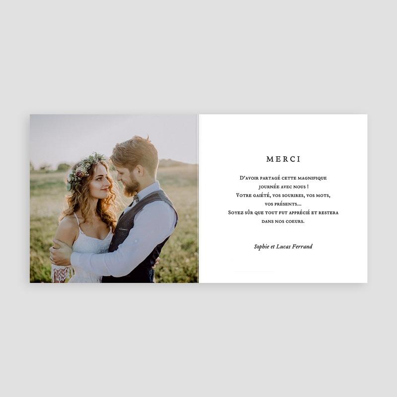Carte remerciement mariage chic Cadre Chic pas cher