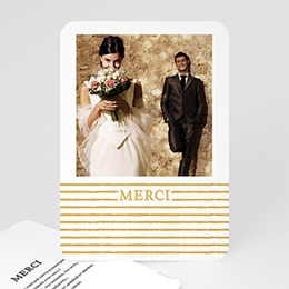 Carte remerciement mariage chic Rayures dorées